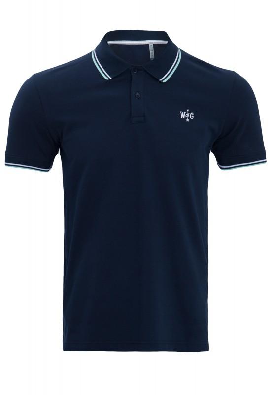 Way of Glory Basic Poloshirt mit farblichen Akzenten - dunkelblau (navy)