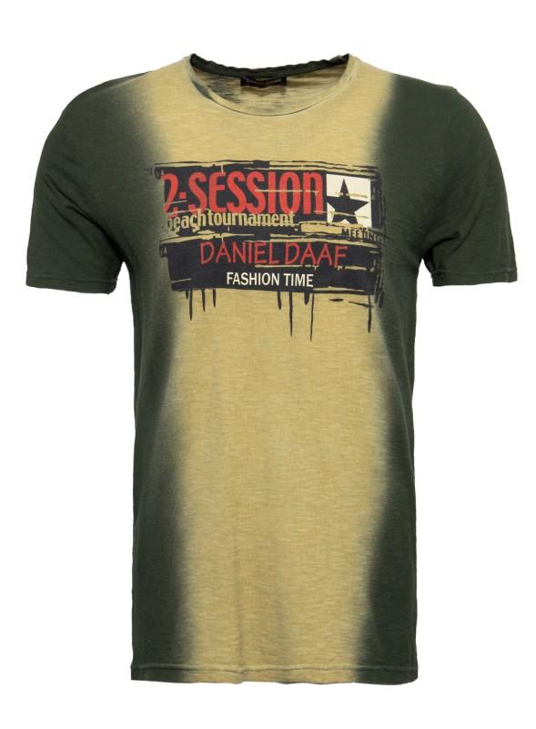 DANIEL DAAF T-Shirt mit Farbverläufen und Print in der Fornt