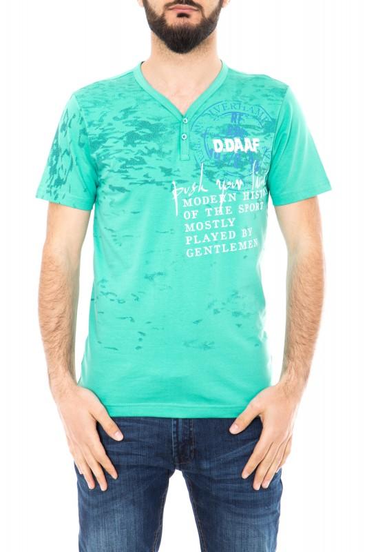 T-Shirt mit V-Ausschnitt und Frontprint - Mint (mint)