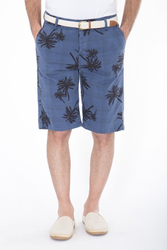DANIEL DAAF Chino-Shorts mit Print inkl. Flechtgürtel - dunkelblau (indigo)