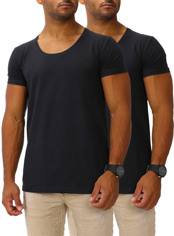Herren Basic T-Shirts Round DEEP 2er Set
