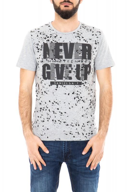 Watercolor T-Shirt mit Frontprint - grau (grey)