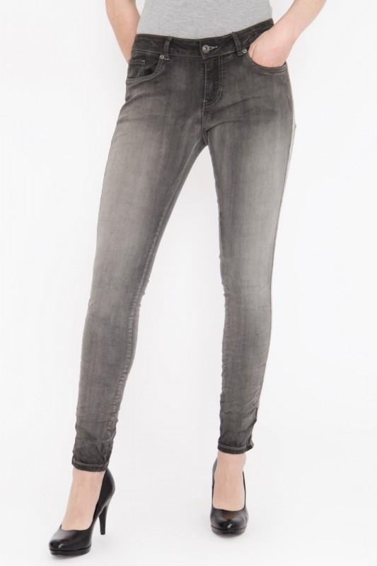 BLUE MONKEY Skinny Fit Jeans mit seitlich aufgenähtem Glitzerband, Used Look »Honey 1854« Honey 1854