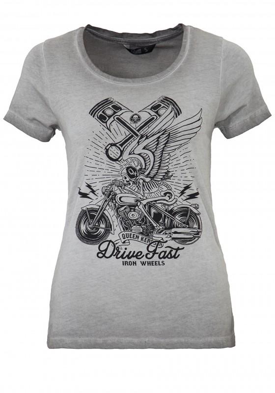 QUEEN KEROSIN T-Shirt im Used Look mit Frontdruck Skull