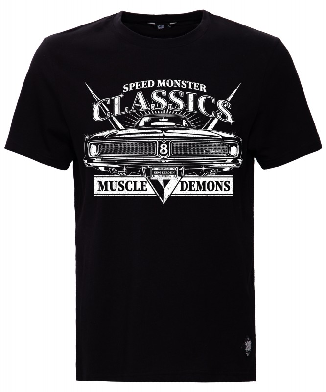KING KEROSIN Print T-Shirt mit Front Print Muscle Demons