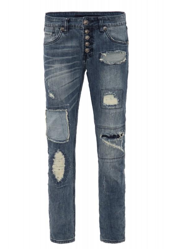 BLUE MONKEY Slim Fit Jeans mit vielen Details Alex 4366