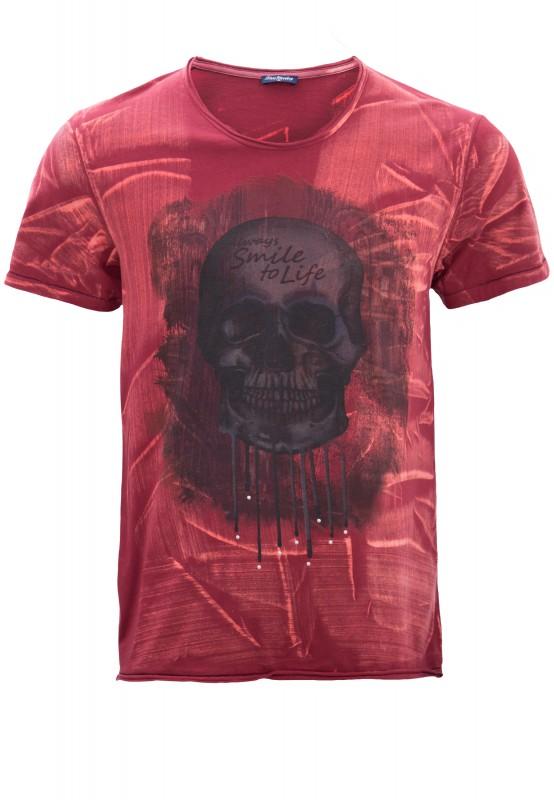 BLUE MONKEY Print-Shirt mit Nieten und Skull-Motiv