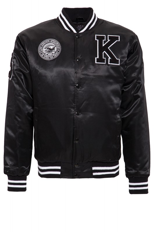 KING KEROSIN Satin College Jacke mit Patch und Rücken Stickerei Speedfreak