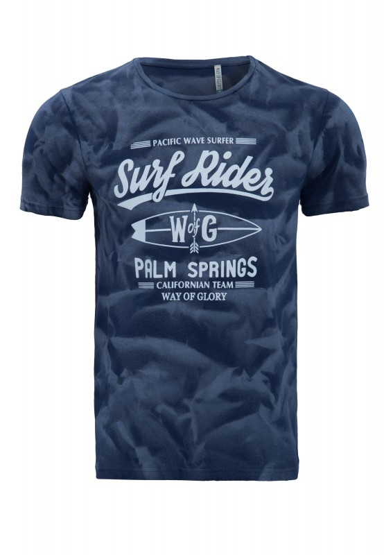Way of Glory Shirt mit Strukturprint - dunkelblau (navy)