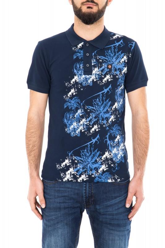 Daniel Daaf Poloshirt mit Tropical Print - dunkelblau (navy)