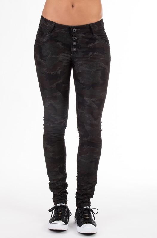 Blue Monkey Skinny Jeans im Camouflage Look mit Crash Hannah 1337 - schwarz - Skinny Fit