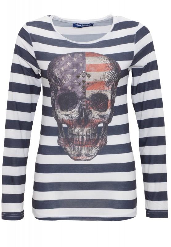 Longshirt mit Fotodruck Skull Style 5 18-3518 - blau (Dark Navy)