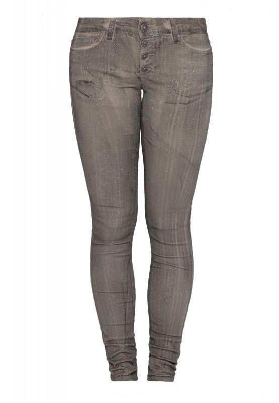 BLUE MONKEY 5-Pocket Skinny Fit Jeans mit Glitzerprint all over BM23 Nena grey