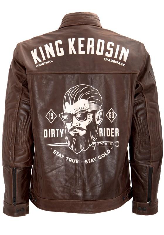 KING KEROSIN Lederjacke mit Retro Print auf der Rückseite