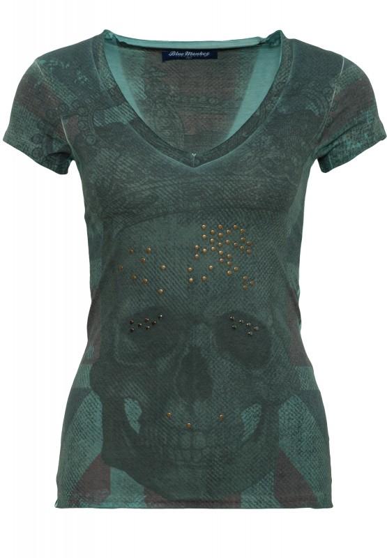 BLUE MONKEY T-Shirt mit Frontprint Skull Britain Style-1 17-4919