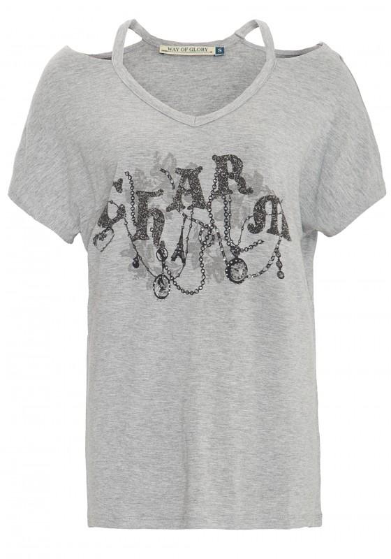 WAY OF GLORY Print Shirt mit Front Motiv und Ziersteinen