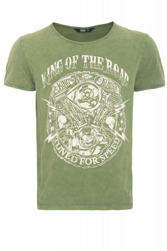 T-Shirt im Used-Look mit Print King of the road - gruen (grün) - Regular Fit