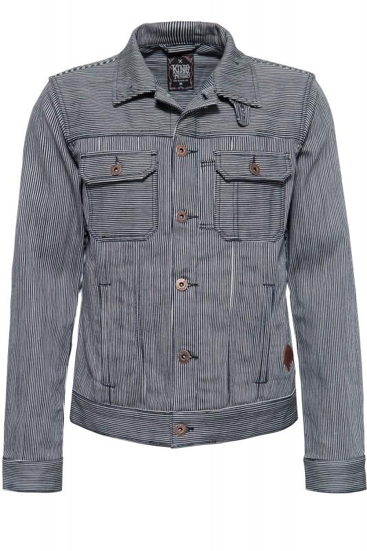 Jeansjacke in Streifen-Optik mit Stickerei »Speedshop SoCal«