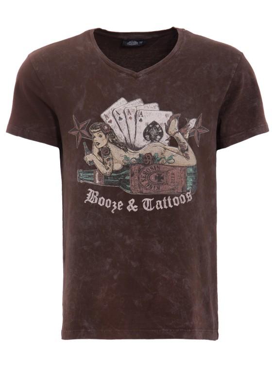 KING KEROSIN Shirt mit Pin Up Motiv - braun