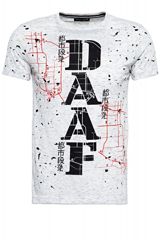 DANIEL DAAF T-Shirt in Flammgarnoptik mit Frontprint