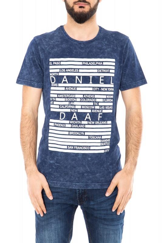 DANIEL DAAF Shirt mit 3D Druck und Vintage Waschung