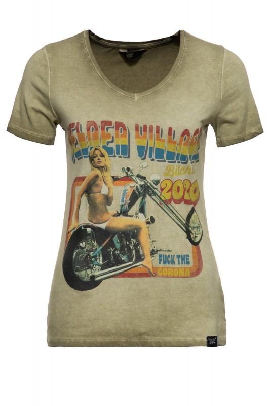 Slim Fit T-Shirt mit Retro-Print und Oilwash-Effekt »Velden Village 2020«