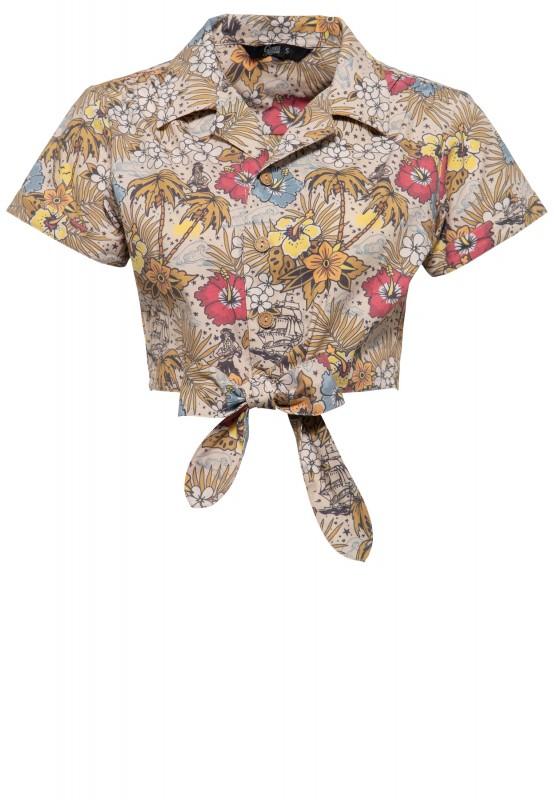 Damen Bluse mit hawaiianischem Muster