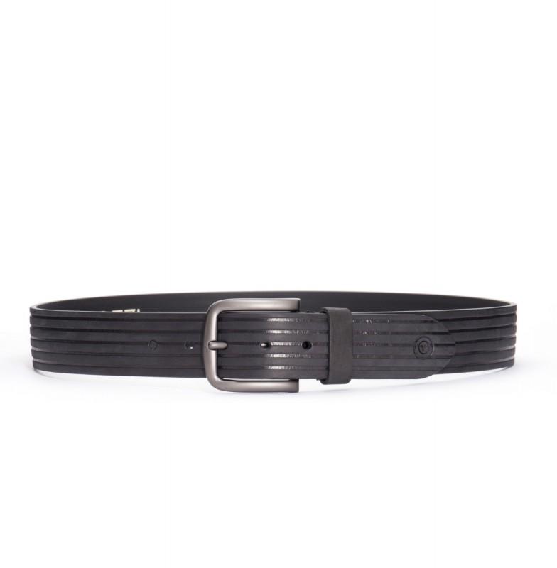 VITTOZZI Ledergürtel im Streifen Design Line - schwarz