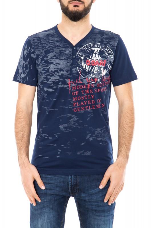 T-Shirt mit V-Ausschnitt und Frontprint - dunkelblau (navy)