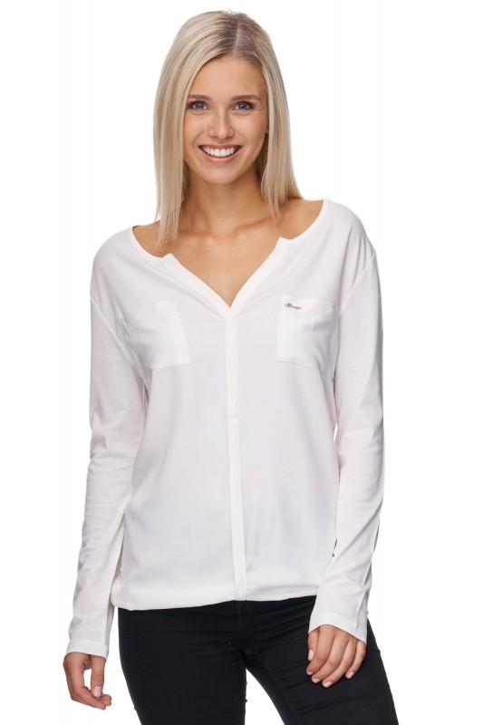 DECAY Langarm Blusen-Shirt mit aufgesetzter Tasche