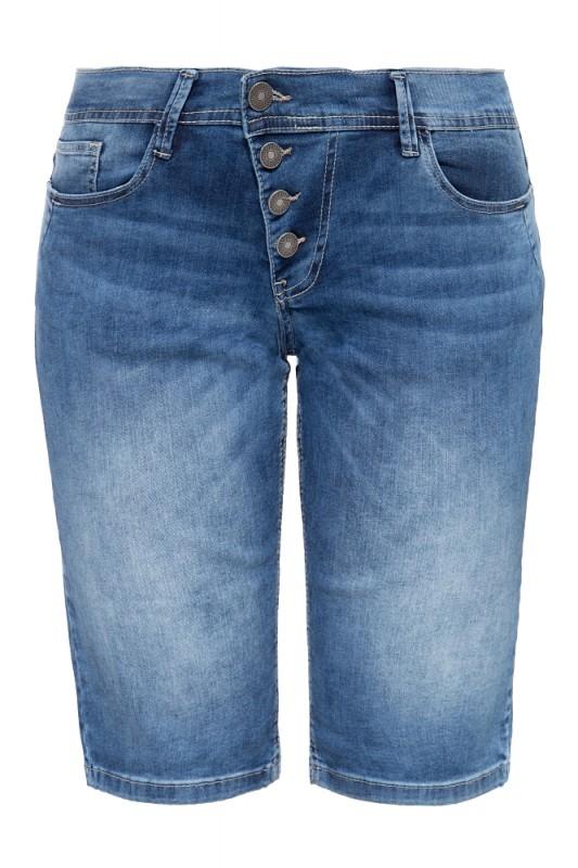 WAY OF GLORY Damen Jeans Bermuda mit asymmetrischer Knopfleiste