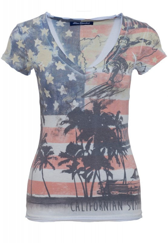 T-Shirt mit Frontprint California Style-1 14-4110 - frozen blue