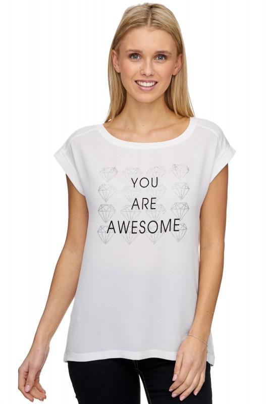 DECAY Blusen-Shirt mit Glitzerdruck und Schriftzug