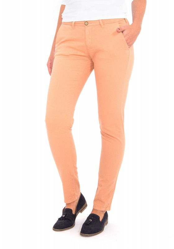 WAY OF GLORY Chino mit Logostickerei - apricot - Modern Fit