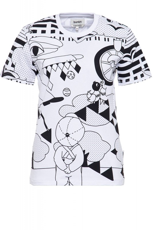 BUNTH T-Shirt mit coolem Lineart-Print