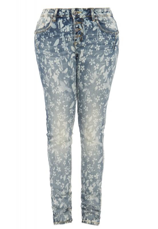 BLUE MONKEY Skinny-Fit Jeans mit Blumen-Print Alexis 1267