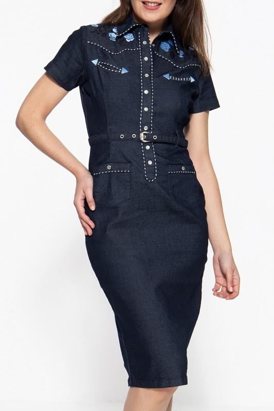 QUEEN KEROSIN Jeanskleid im Westernchic