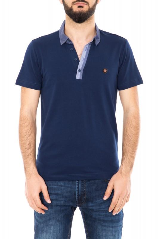 Poloshirt mit kontrastfarbener Knopfleiste - dunkelblau (navy)