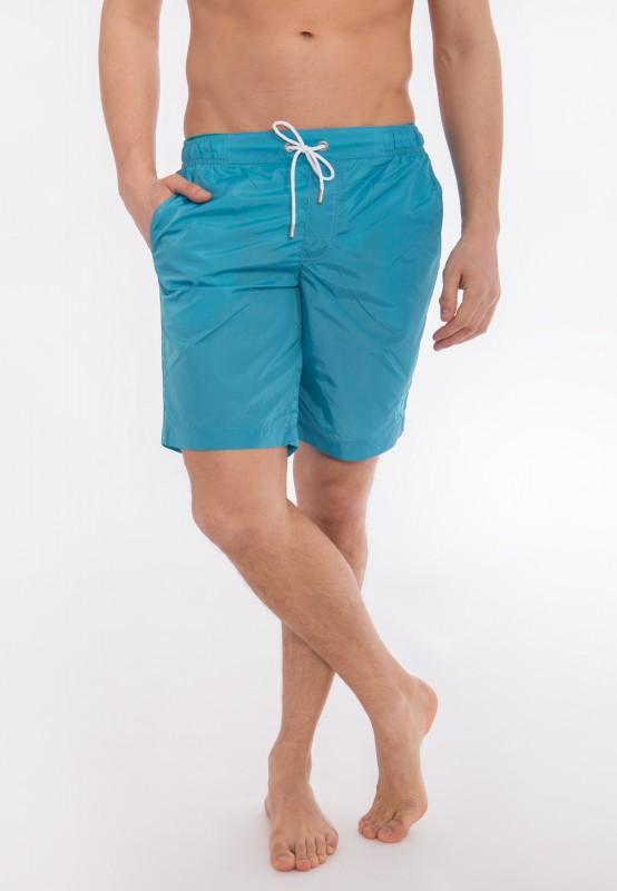 Badeshorts mit Eingriffstaschen und seitlicher Logostickerei - blau - Regular Fit