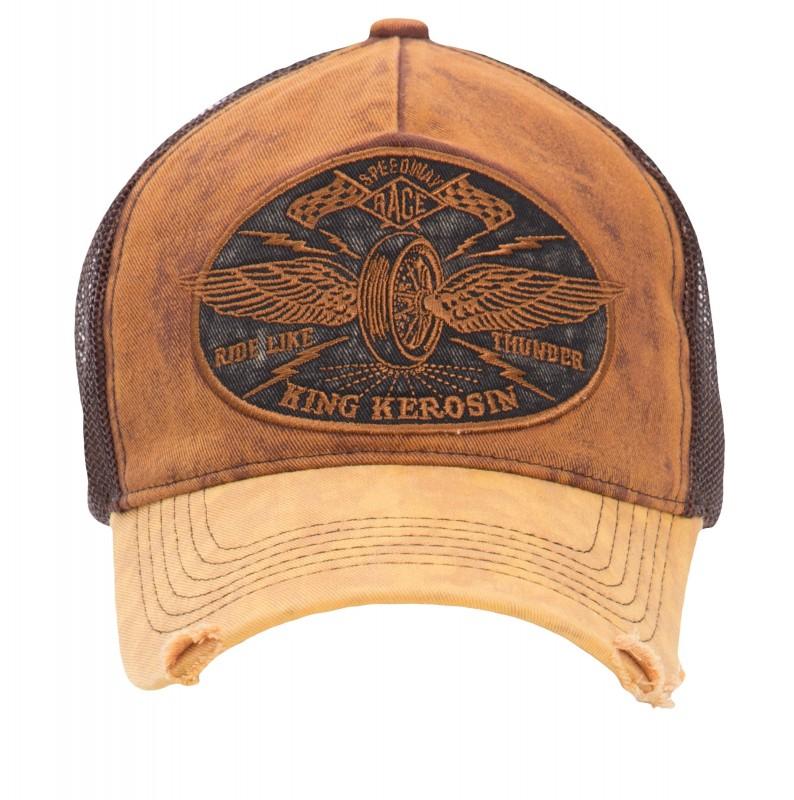 KING KEROSIN Trucker Denim Cap »Ride like Thunder« im Vintage Jeans Look mit Stickerei Ride like Thu