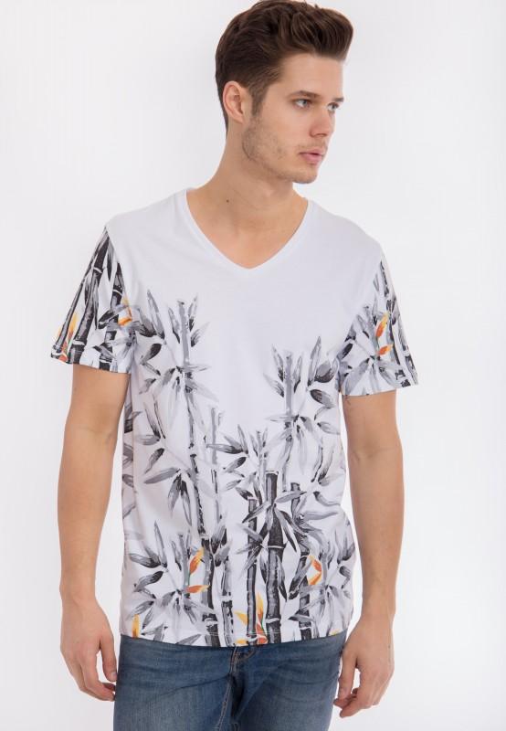 MEXX T-Shirt mit V-Ausschnitt und Printmotiv