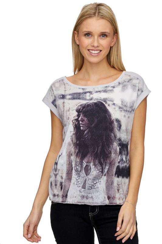 DECAY Blusen-Shirt mit Fotodruck und Ärmelaufschlag