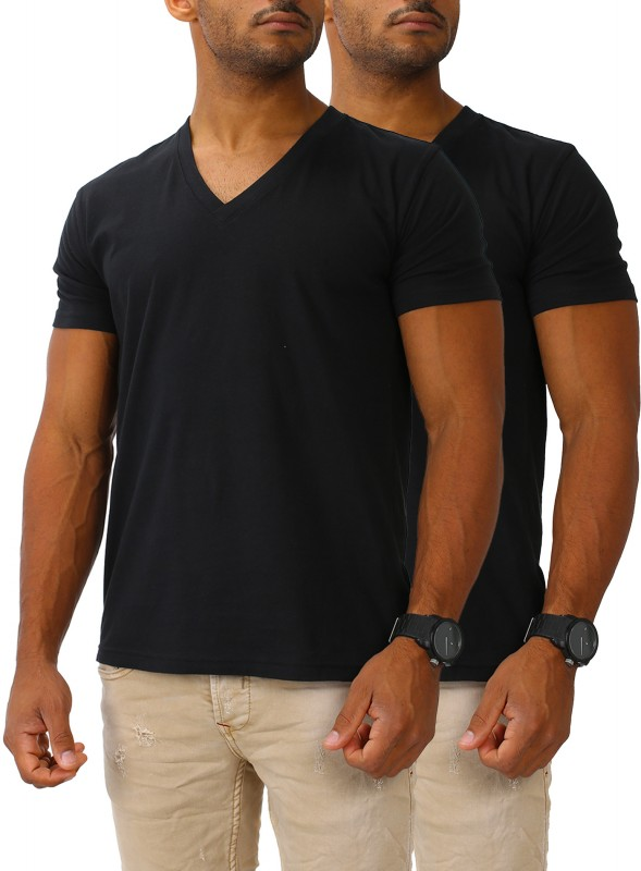 Herren Basic T-Shirt V-Neck 2er Set