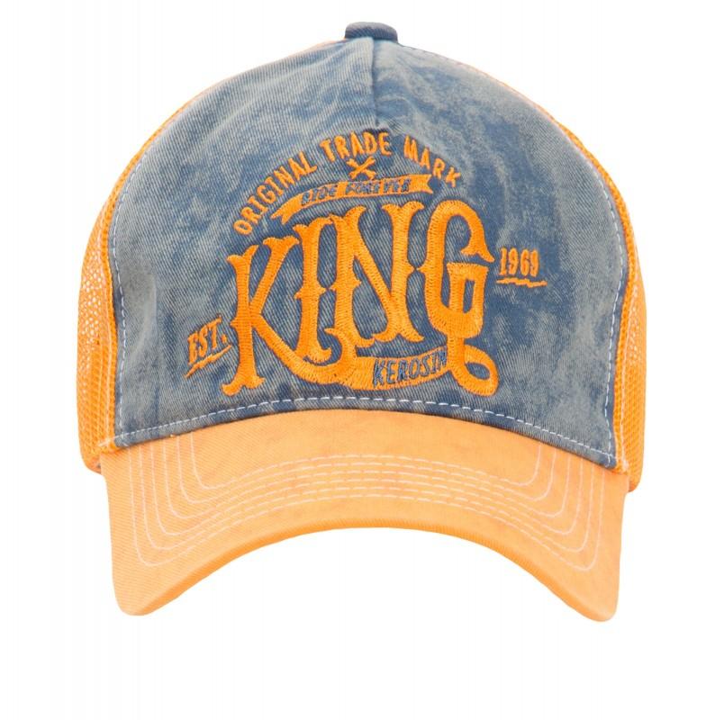 KING KEROSIN Truckercap mit Denim Einsatz im Used Look