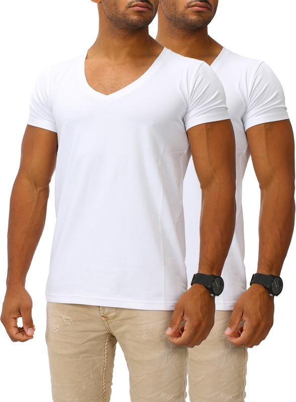 Herren Basic T-Shirts V-Neck DEEP 2er Set