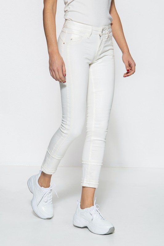 ATT JEANS Damen Basic Slim Fit Jeans mit Schmuckelementen und gekürzter Beinlänge Belinda