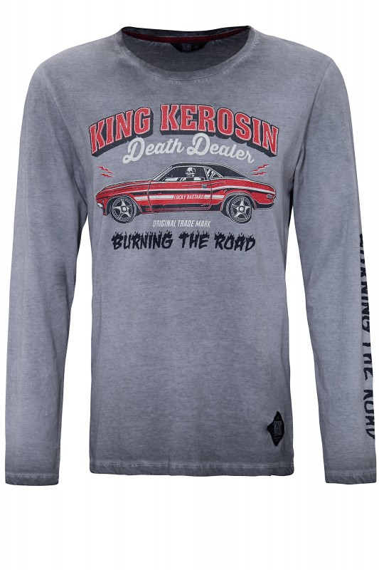 KING KEROSIN Longsleeve Shirt mit Prints und Oilwash-Effekten Death Dealer