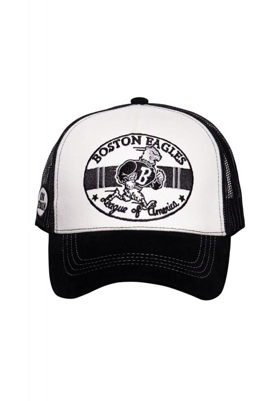 Trucker Cap mit Schirm in Samt-Optik und Stickereien »Boston Eagles«