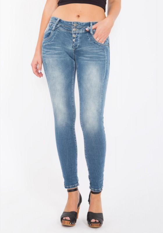 BLUE MONKEY Skinny Jeans mit Teilungnähten Anny 1600-L