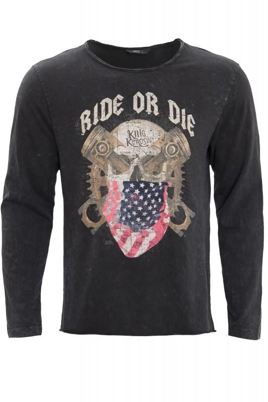 KING KEROSIN Langarmshirt im Used-Look mit Print ride or die